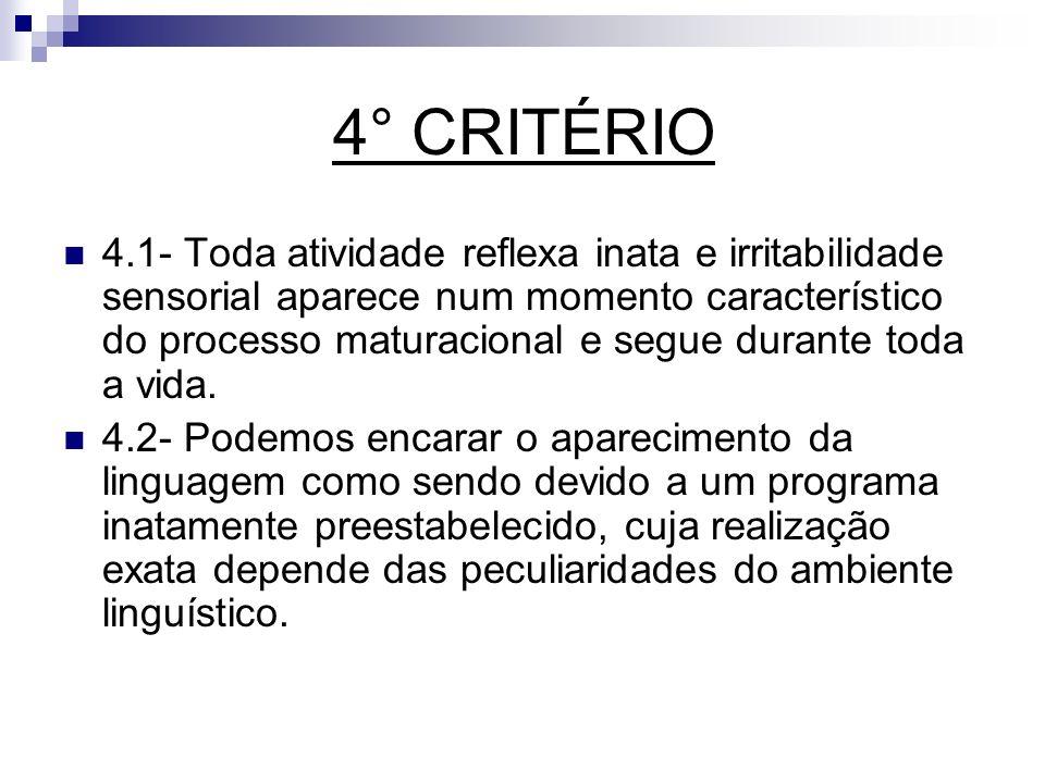 4° CRITÉRIO 4.1- Toda atividade reflexa inata e irritabilidade sensorial aparece num momento característico do processo maturacional e segue durante t