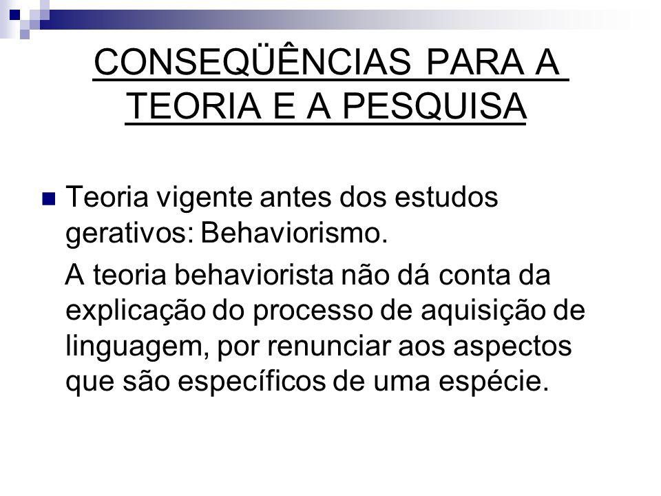 CONSEQÜÊNCIAS PARA A TEORIA E A PESQUISA Teoria vigente antes dos estudos gerativos: Behaviorismo. A teoria behaviorista não dá conta da explicação do