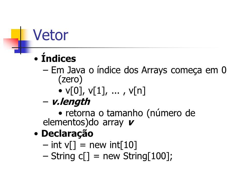 Vetor Índices – Em Java o índice dos Arrays começa em 0 (zero) v[0], v[1],..., v[n] – v.length retorna o tamanho (número de elementos)do array v Decla