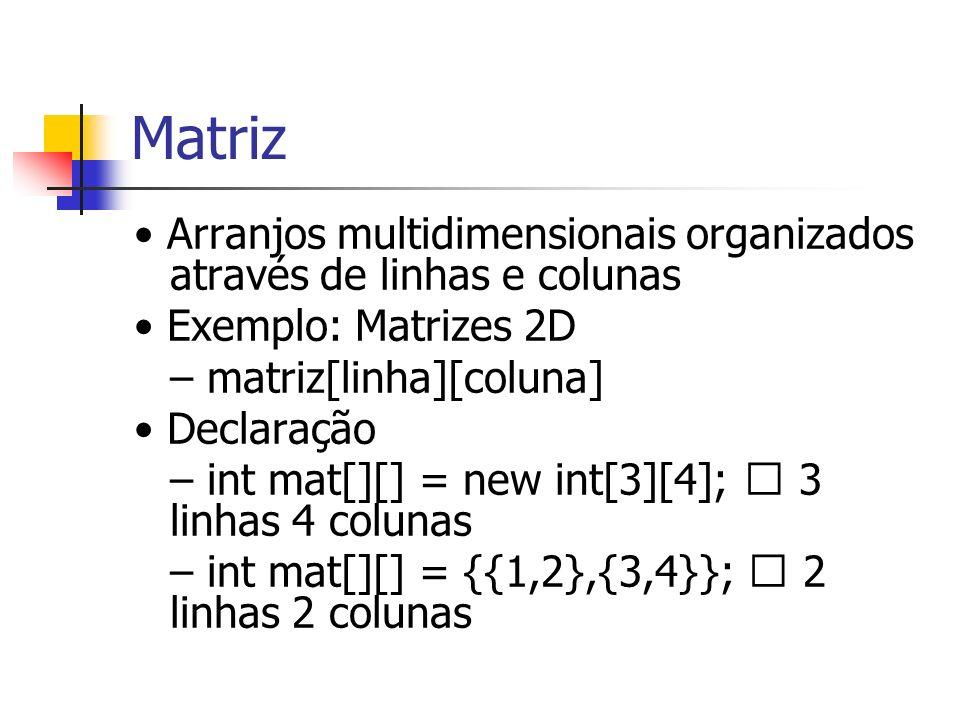 Matriz Arranjos multidimensionais organizados através de linhas e colunas Exemplo: Matrizes 2D – matriz[linha][coluna] Declaração – int mat[][] = new