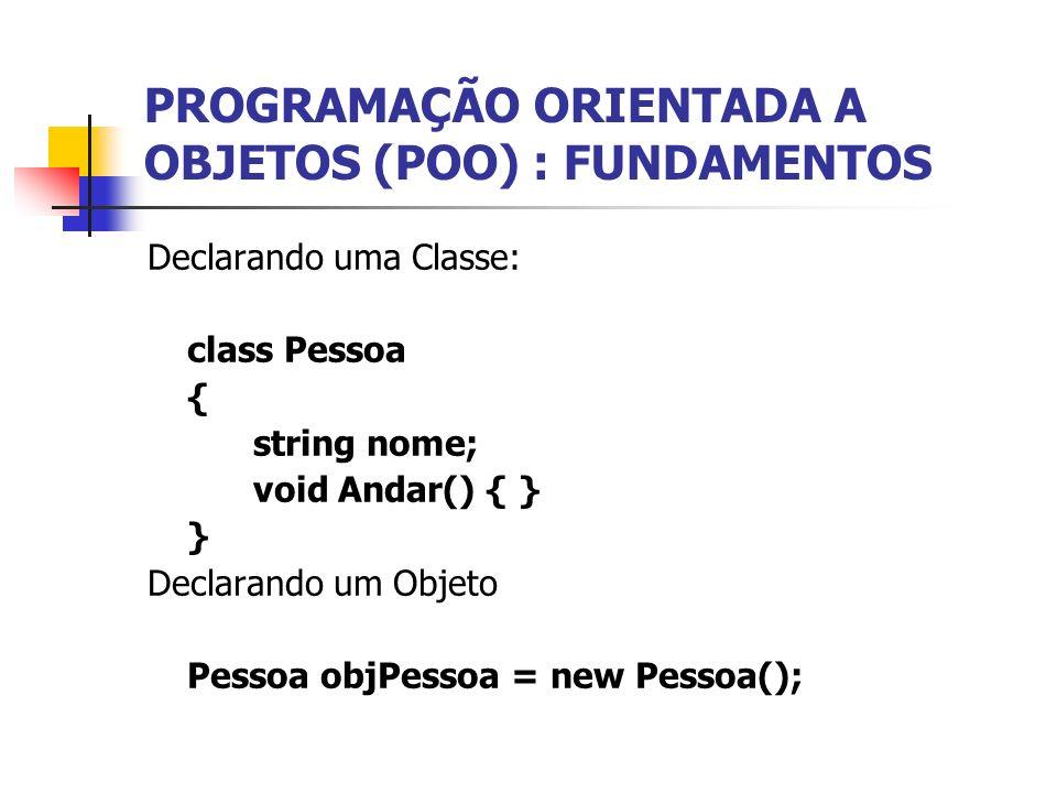 Declarando uma Classe: class Pessoa { string nome; void Andar() { } } Declarando um Objeto Pessoa objPessoa = new Pessoa();