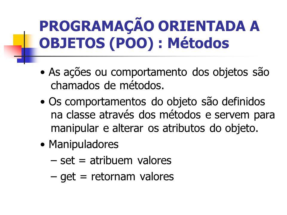 PROGRAMAÇÃO ORIENTADA A OBJETOS (POO) : Métodos As ações ou comportamento dos objetos são chamados de métodos. Os comportamentos do objeto são definid