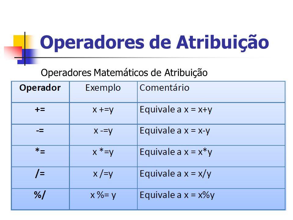 Operadores de Atribuição Operadores Matemáticos de Atribuição