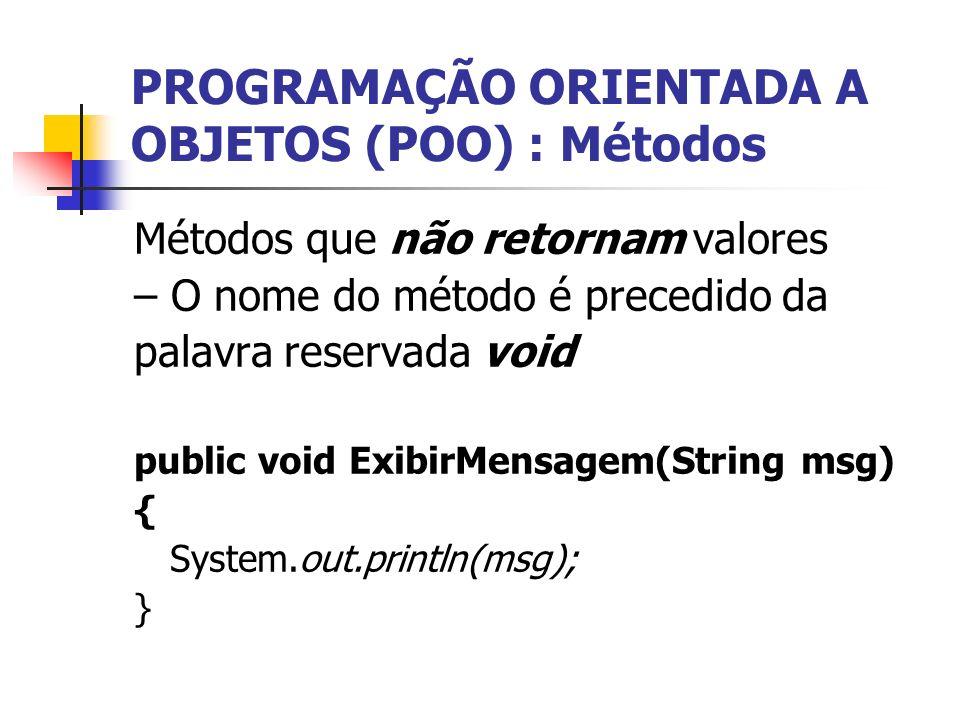 PROGRAMAÇÃO ORIENTADA A OBJETOS (POO) : Métodos Métodos que não retornam valores – O nome do método é precedido da palavra reservada void public void