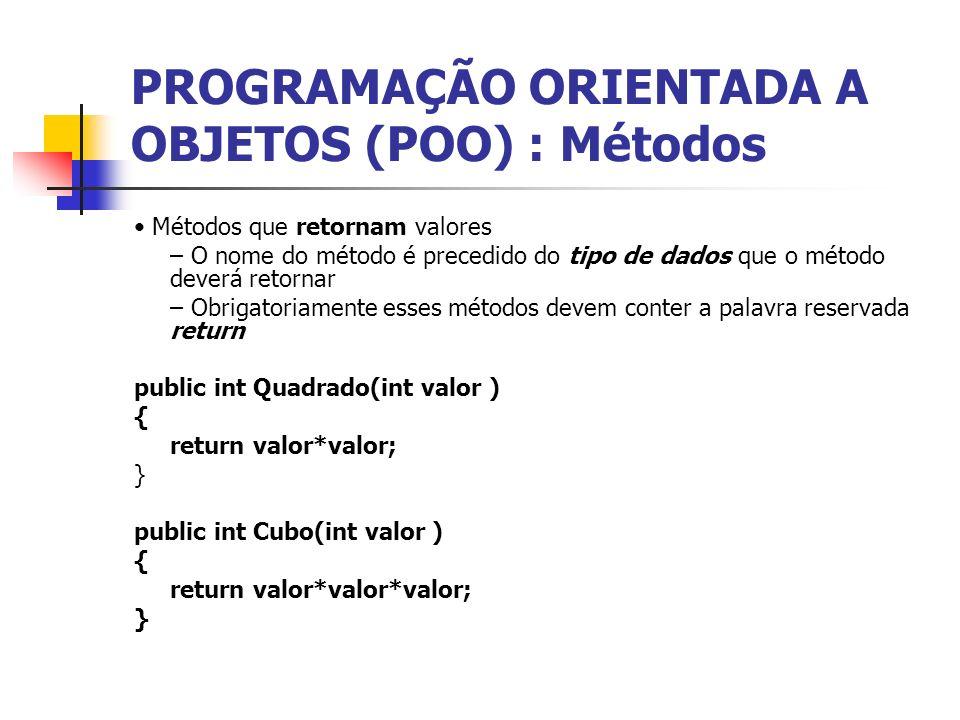 PROGRAMAÇÃO ORIENTADA A OBJETOS (POO) : Métodos Métodos que retornam valores – O nome do método é precedido do tipo de dados que o método deverá retor