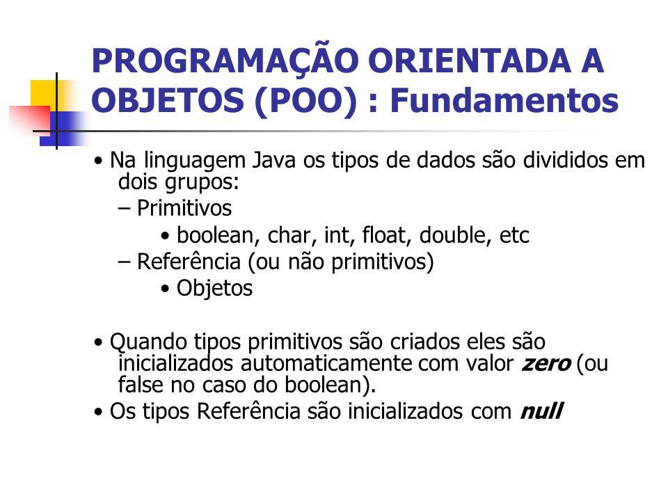 PROGRAMAÇÃO ORIENTADA A OBJETOS (POO) : Fundamentos Na linguagem Java os tipos de dados são divididos em dois grupos: – Primitivos boolean, char, int,