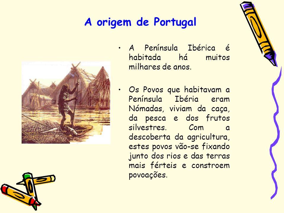 A origem de Portugal A Península Ibérica é habitada há muitos milhares de anos. Os Povos que habitavam a Península Ibéria eram Nómadas, viviam da caça