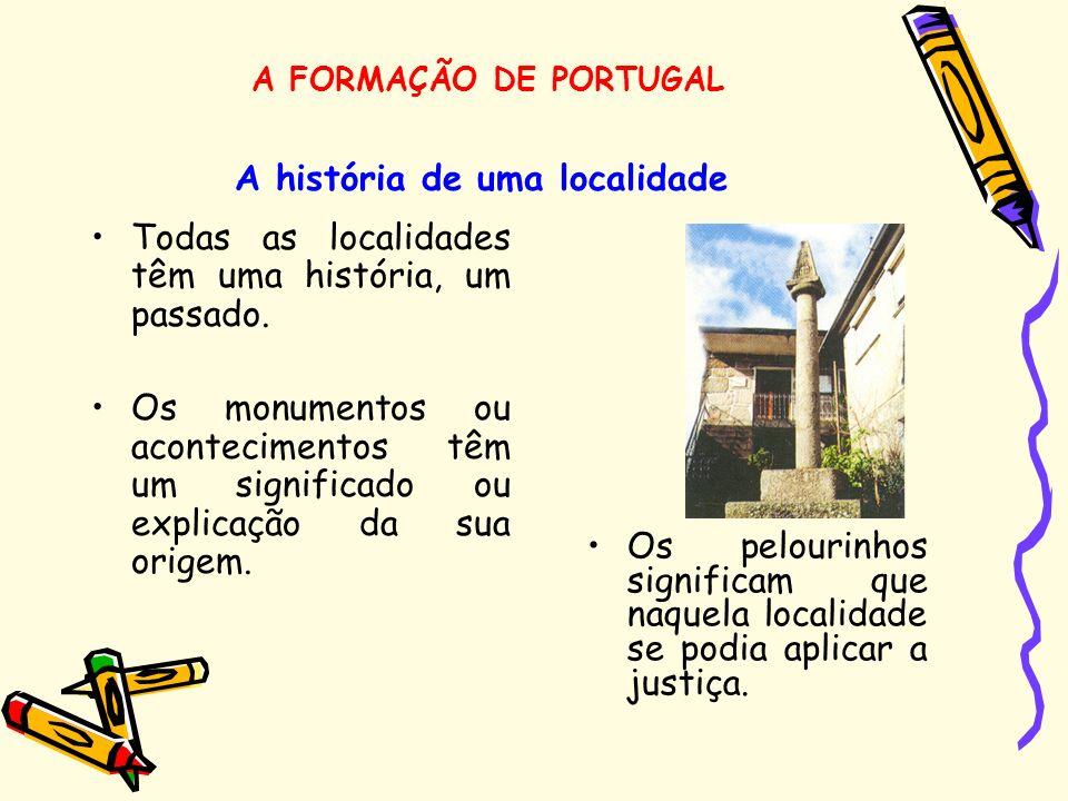 A história de uma localidade Todas as localidades têm uma história, um passado. Os monumentos ou acontecimentos têm um significado ou explicação da su