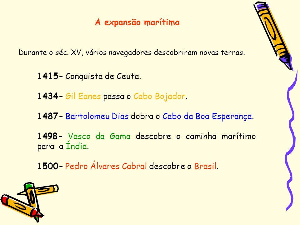 Durante o séc. XV, vários navegadores descobriram novas terras. 1415- Conquista de Ceuta. 1434- Gil Eanes passa o Cabo Bojador. 1487- Bartolomeu Dias