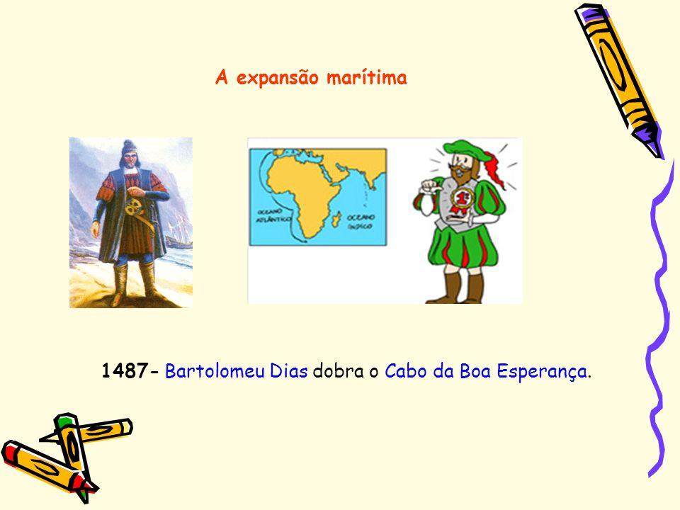 A expansão marítima 1487- Bartolomeu Dias dobra o Cabo da Boa Esperança.