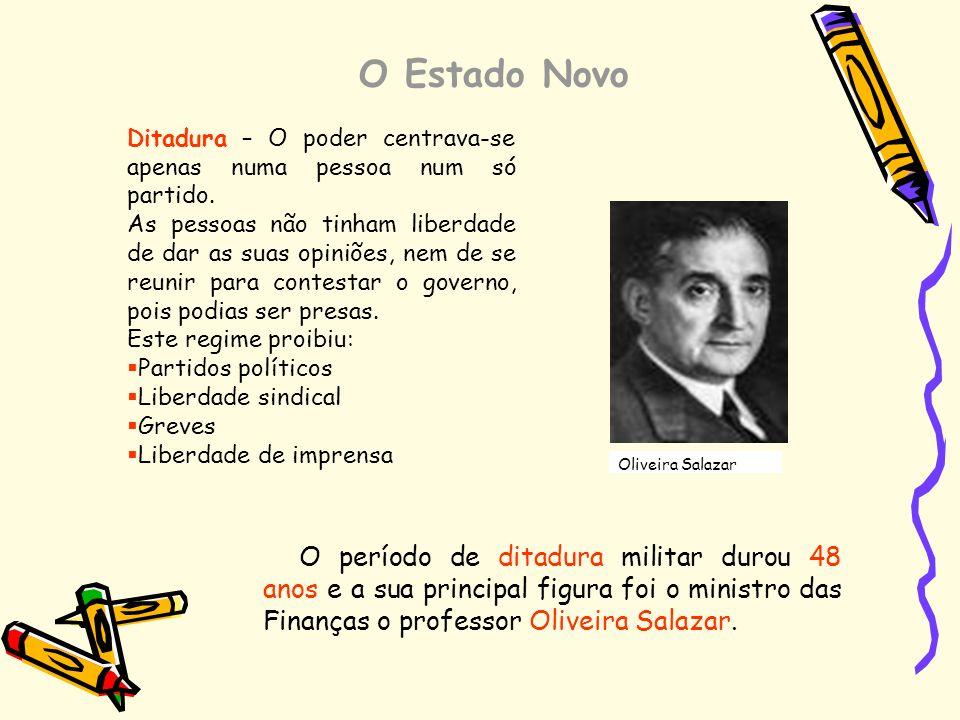 O Estado Novo Ditadura – O poder centrava-se apenas numa pessoa num só partido. As pessoas não tinham liberdade de dar as suas opiniões, nem de se reu