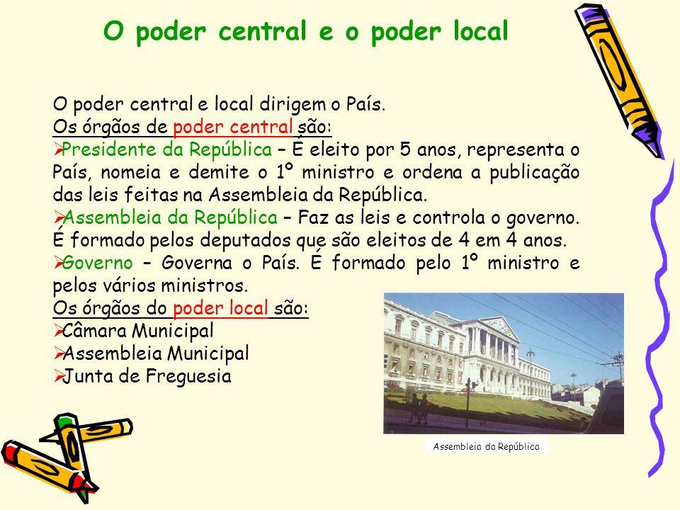 O poder central e o poder local Assembleia da República O poder central e local dirigem o País. Os órgãos de poder central são: Presidente da Repúblic