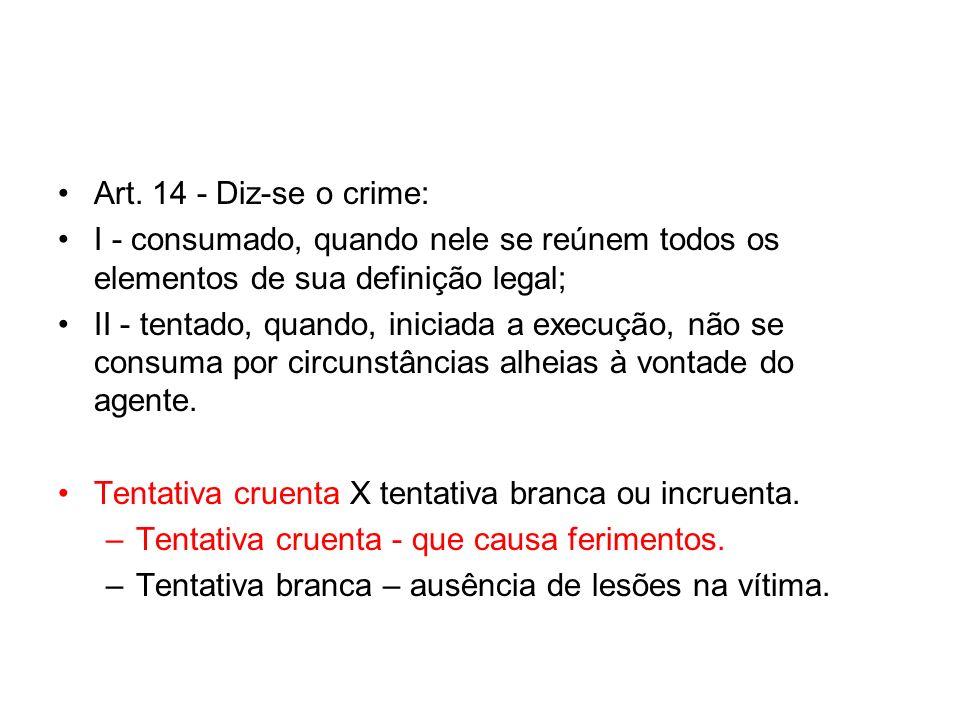 Art. 14 - Diz-se o crime: I - consumado, quando nele se reúnem todos os elementos de sua definição legal; II - tentado, quando, iniciada a execução, n