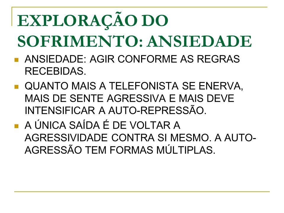 EXPLORAÇÃO DO SOFRIMENTO: ANSIEDADE ANSIEDADE: AGIR CONFORME AS REGRAS RECEBIDAS.