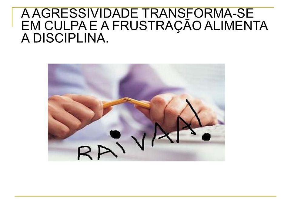 A AGRESSIVIDADE TRANSFORMA-SE EM CULPA E A FRUSTRAÇÃO ALIMENTA A DISCIPLINA.
