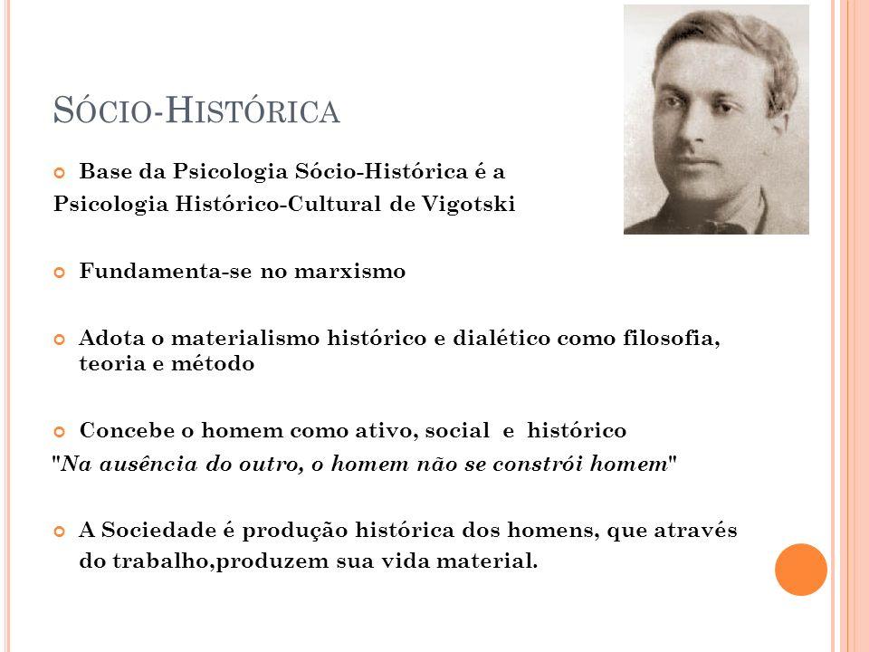 S ÓCIO -H ISTÓRICA Base da Psicologia Sócio-Histórica é a Psicologia Histórico-Cultural de Vigotski Fundamenta-se no marxismo Adota o materialismo his