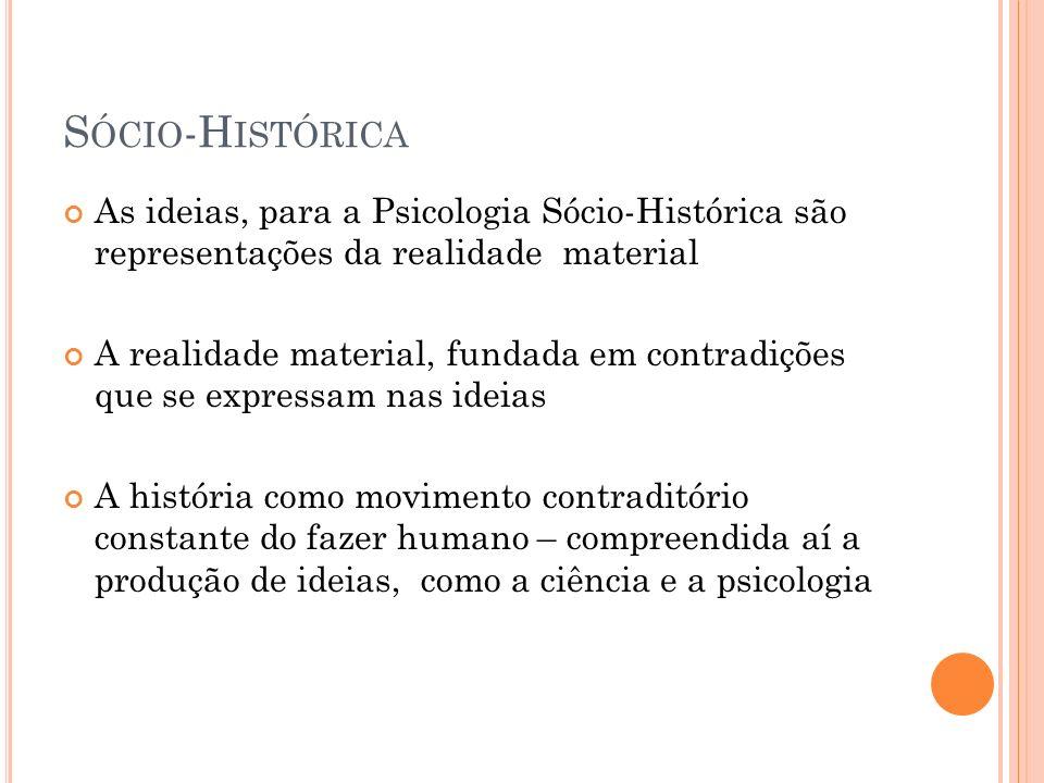 S ÓCIO -H ISTÓRICA As ideias, para a Psicologia Sócio-Histórica são representações da realidade material A realidade material, fundada em contradições