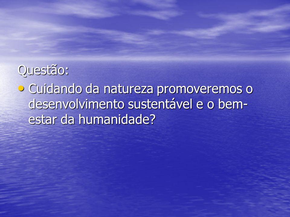 Questão: Cuidando da natureza promoveremos o desenvolvimento sustentável e o bem- estar da humanidade? Cuidando da natureza promoveremos o desenvolvim