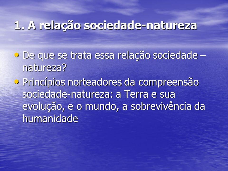 1. A relação sociedade-natureza De que se trata essa relação sociedade – natureza? De que se trata essa relação sociedade – natureza? Princípios norte