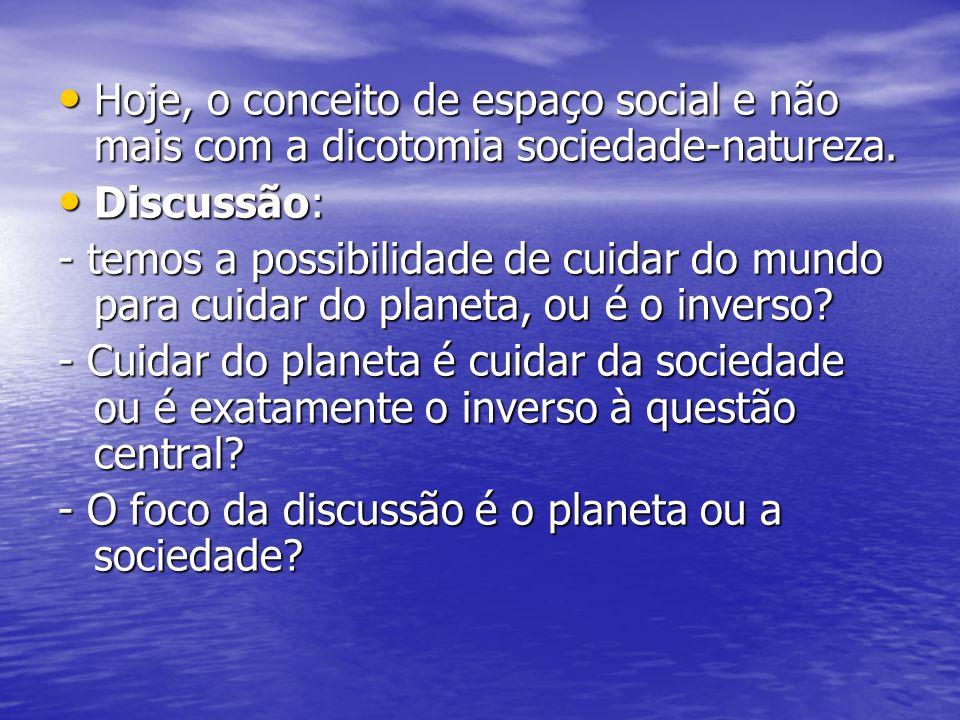 Hoje, o conceito de espaço social e não mais com a dicotomia sociedade-natureza. Hoje, o conceito de espaço social e não mais com a dicotomia sociedad