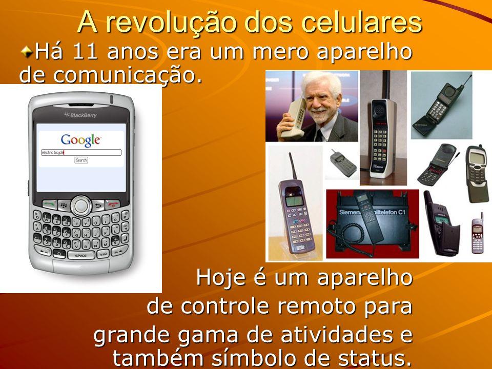 A revolução dos celulares Há 11 anos era um mero aparelho de comunicação. Hoje é um aparelho de controle remoto para de controle remoto para grande ga