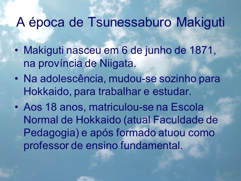 A época de Tsunessaburo Makiguti Makiguti nasceu em 6 de junho de 1871, na província de Niigata. Na adolescência, mudou-se sozinho para Hokkaido, para