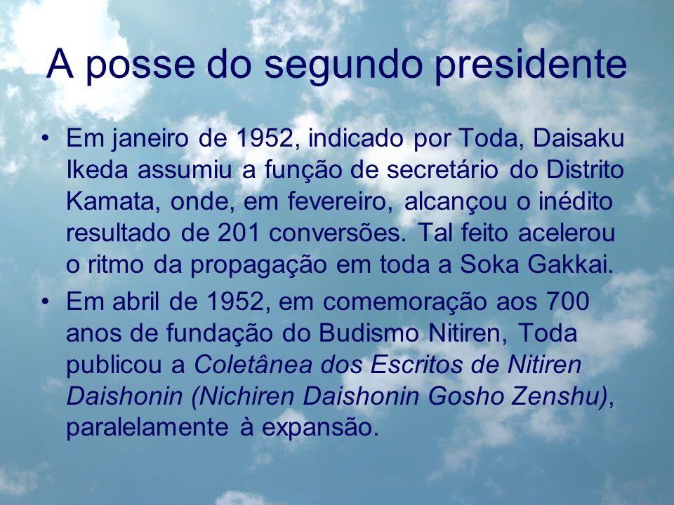 A posse do segundo presidente Em janeiro de 1952, indicado por Toda, Daisaku Ikeda assumiu a função de secretário do Distrito Kamata, onde, em feverei
