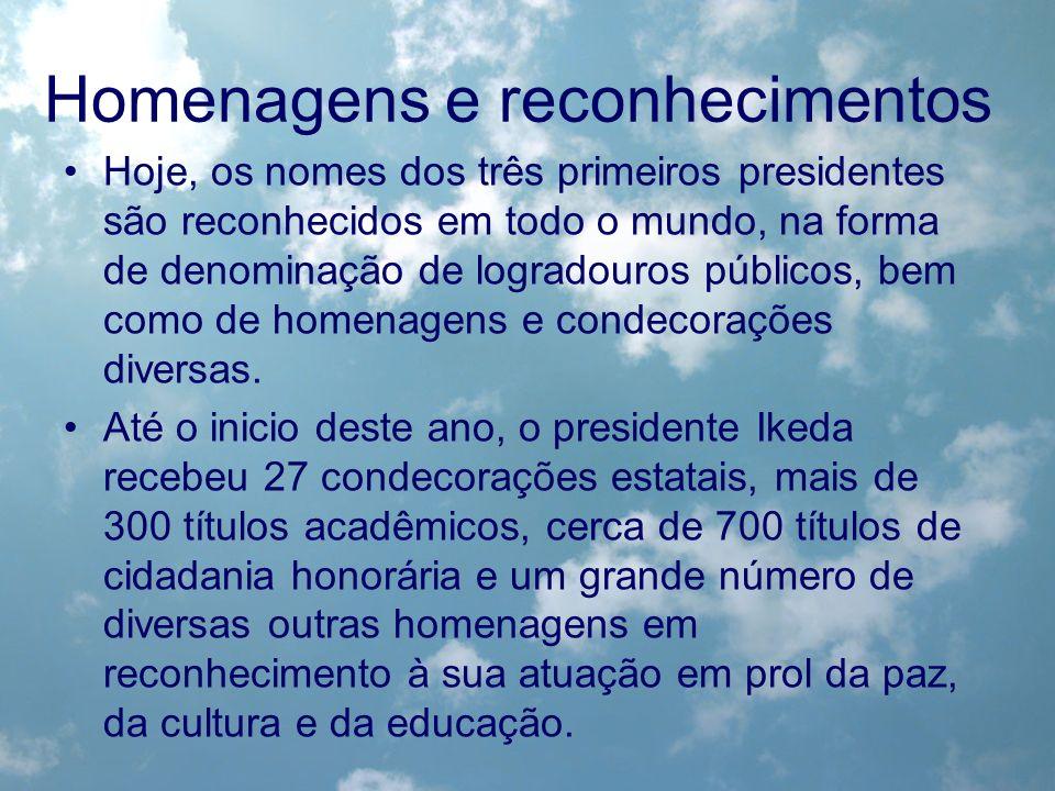Homenagens e reconhecimentos Hoje, os nomes dos três primeiros presidentes são reconhecidos em todo o mundo, na forma de denominação de logradouros pú
