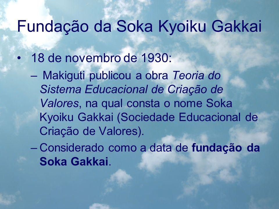 Fundação da Soka Kyoiku Gakkai 18 de novembro de 1930: – Makiguti publicou a obra Teoria do Sistema Educacional de Criação de Valores, na qual consta