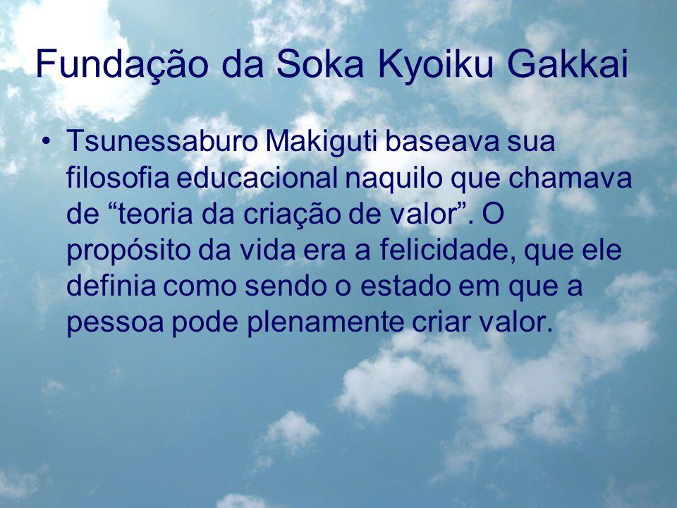 Fundação da Soka Kyoiku Gakkai Tsunessaburo Makiguti baseava sua filosofia educacional naquilo que chamava de teoria da criação de valor. O propósito