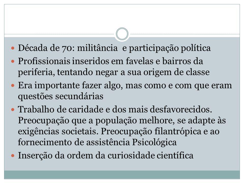 Década de 70: militância e participação política Profissionais inseridos em favelas e bairros da periferia, tentando negar a sua origem de classe Era
