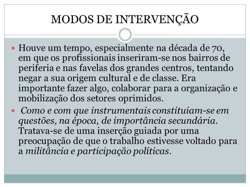 MODOS DE INTERVENÇÃO Houve um tempo, especialmente na década de 70, em que os profissionais inseriram-se nos bairros de periferia e nas favelas dos gr