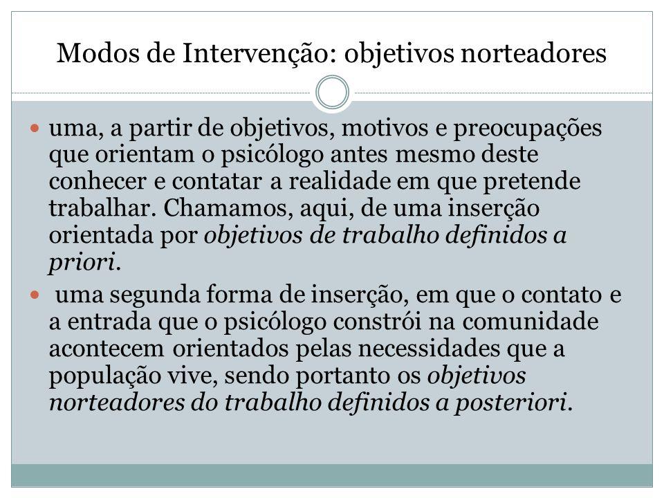 Modos de Intervenção: objetivos norteadores uma, a partir de objetivos, motivos e preocupações que orientam o psicólogo antes mesmo deste conhecer e c