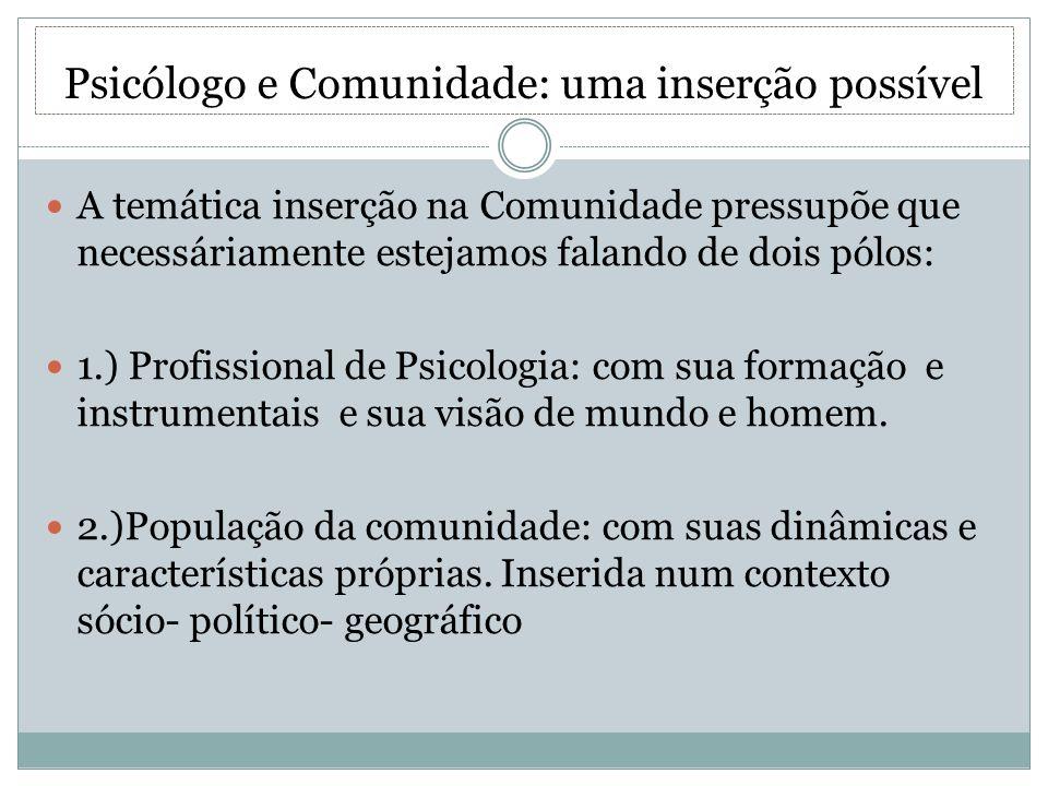 Psicólogo e Comunidade: uma inserção possível A temática inserção na Comunidade pressupõe que necessáriamente estejamos falando de dois pólos: 1.) Pro