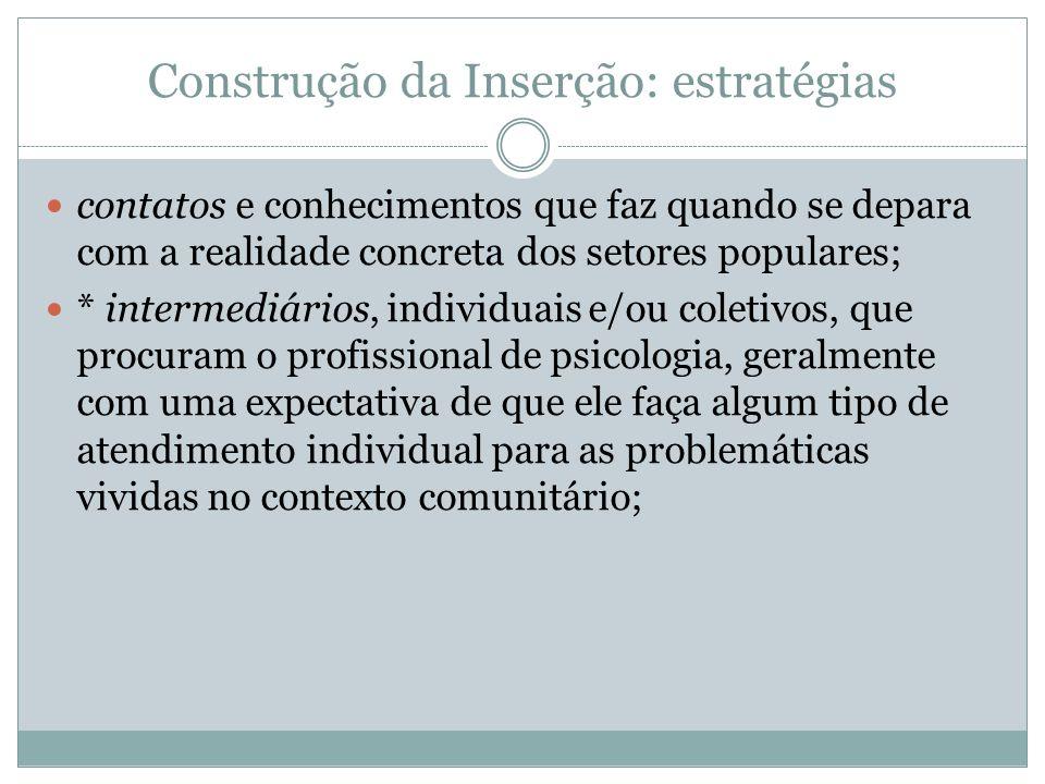 Construção da Inserção: estratégias contatos e conhecimentos que faz quando se depara com a realidade concreta dos setores populares; * intermediários