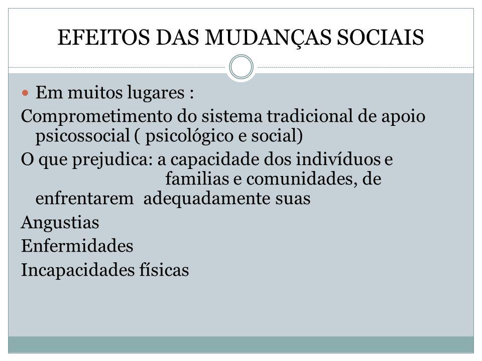 EFEITOS DAS MUDANÇAS SOCIAIS Em muitos lugares : Comprometimento do sistema tradicional de apoio psicossocial ( psicológico e social) O que prejudica: