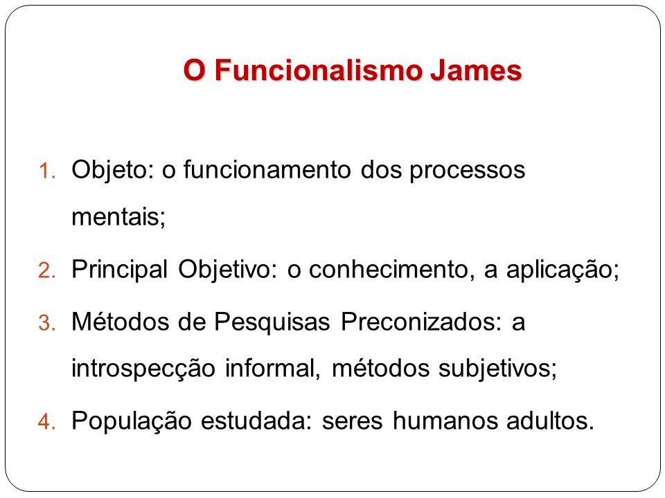O Funcionalismo James O Funcionalismo James 1. Objeto: o funcionamento dos processos mentais; 2. Principal Objetivo: o conhecimento, a aplicação; 3. M