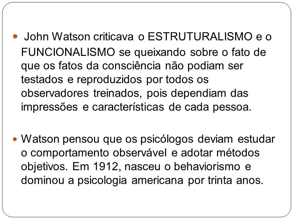 John Watson criticava o ESTRUTURALISMO e o FUNCIONALISMO se queixando sobre o fato de que os fatos da consciência não podiam ser testados e reproduzid