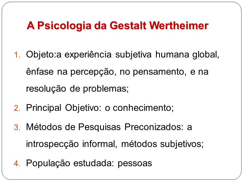 A Psicologia da Gestalt Wertheimer 1. Objeto:a experiência subjetiva humana global, ênfase na percepção, no pensamento, e na resolução de problemas; 2