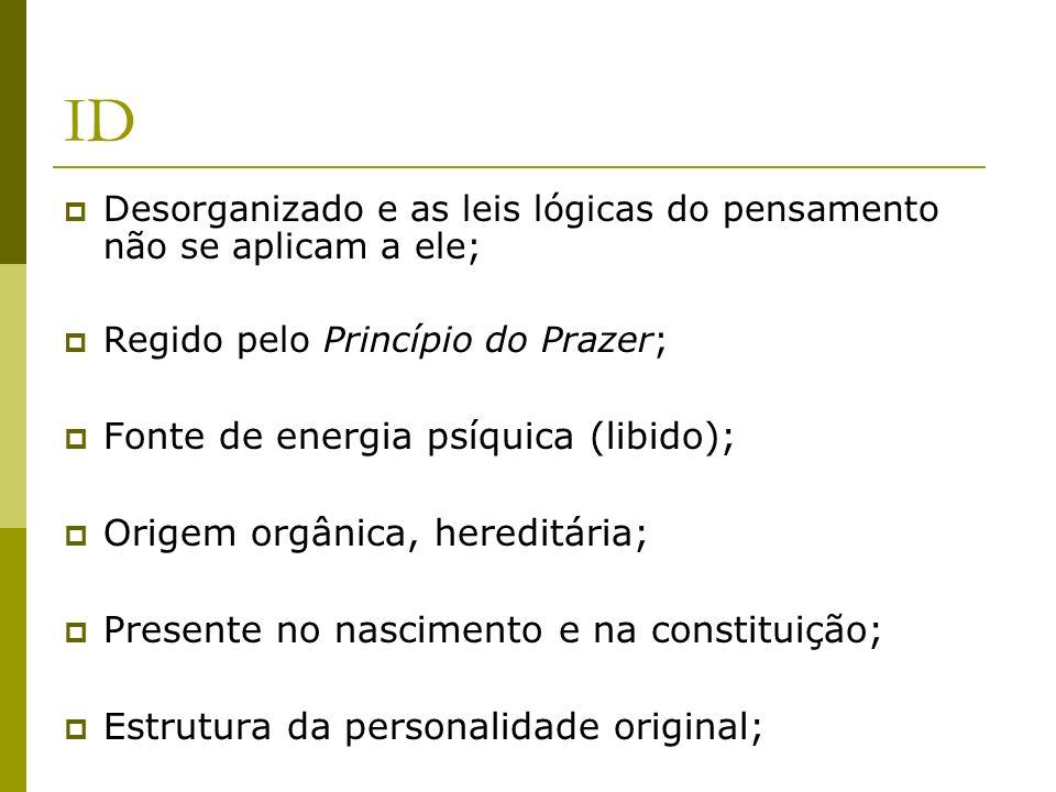 ID Desorganizado e as leis lógicas do pensamento não se aplicam a ele; Regido pelo Princípio do Prazer; Fonte de energia psíquica (libido); Origem org