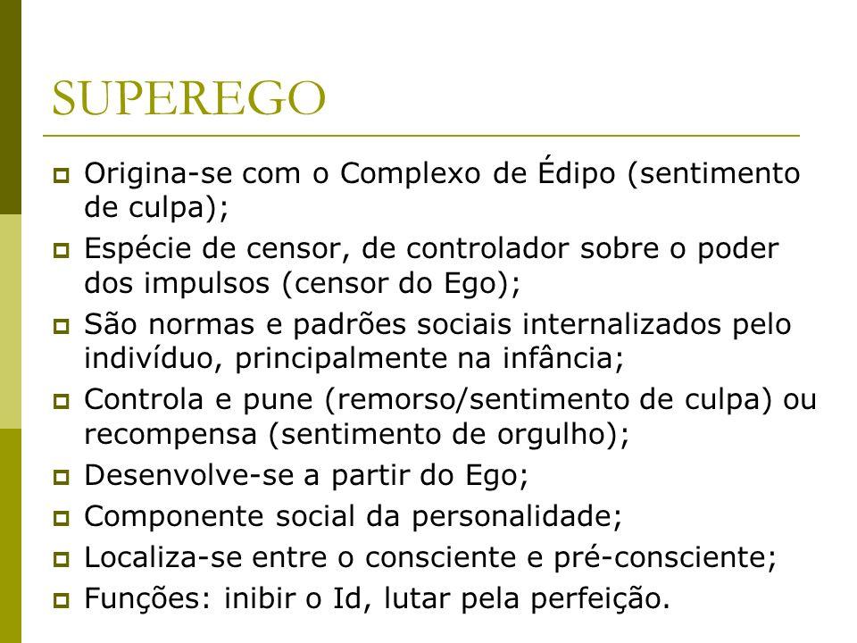 Origina-se com o Complexo de Édipo (sentimento de culpa); Espécie de censor, de controlador sobre o poder dos impulsos (censor do Ego); São normas e p