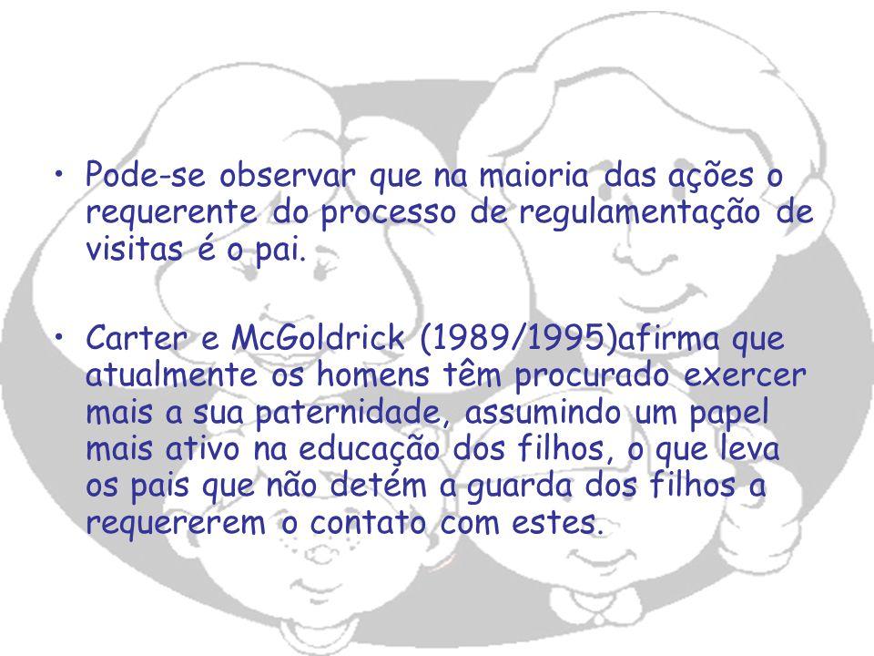 Pode-se observar que na maioria das ações o requerente do processo de regulamentação de visitas é o pai. Carter e McGoldrick (1989/1995)afirma que atu