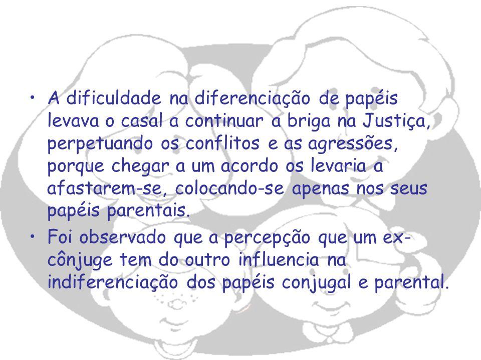 A dificuldade na diferenciação de papéis levava o casal a continuar a briga na Justiça, perpetuando os conflitos e as agressões, porque chegar a um ac