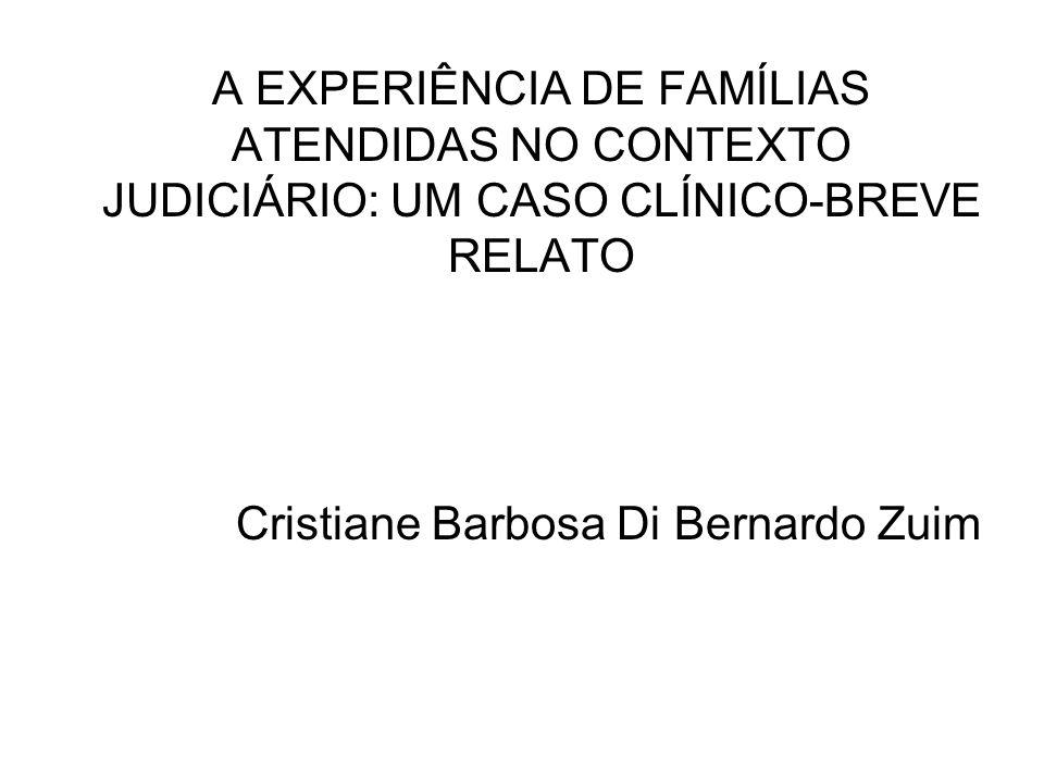 A EXPERIÊNCIA DE FAMÍLIAS ATENDIDAS NO CONTEXTO JUDICIÁRIO: UM CASO CLÍNICO-BREVE RELATO Cristiane Barbosa Di Bernardo Zuim