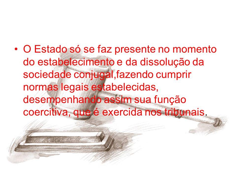 O Estado só se faz presente no momento do estabelecimento e da dissolução da sociedade conjugal,fazendo cumprir normas legais estabelecidas, desempenh