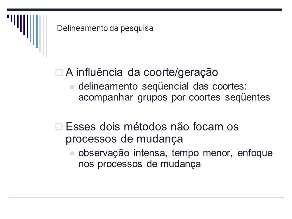Delineamento da pesquisa A influência da coorte/geração delineamento seqüencial das coortes: acompanhar grupos por coortes seqüentes Esses dois método