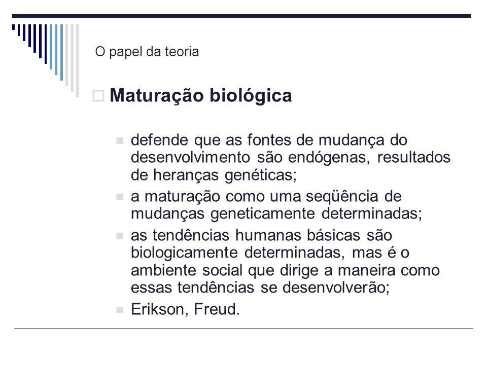 O papel da teoria Maturação biológica defende que as fontes de mudança do desenvolvimento são endógenas, resultados de heranças genéticas; a maturação