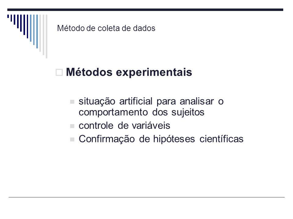 Método de coleta de dados Métodos experimentais situação artificial para analisar o comportamento dos sujeitos controle de variáveis Confirmação de hi