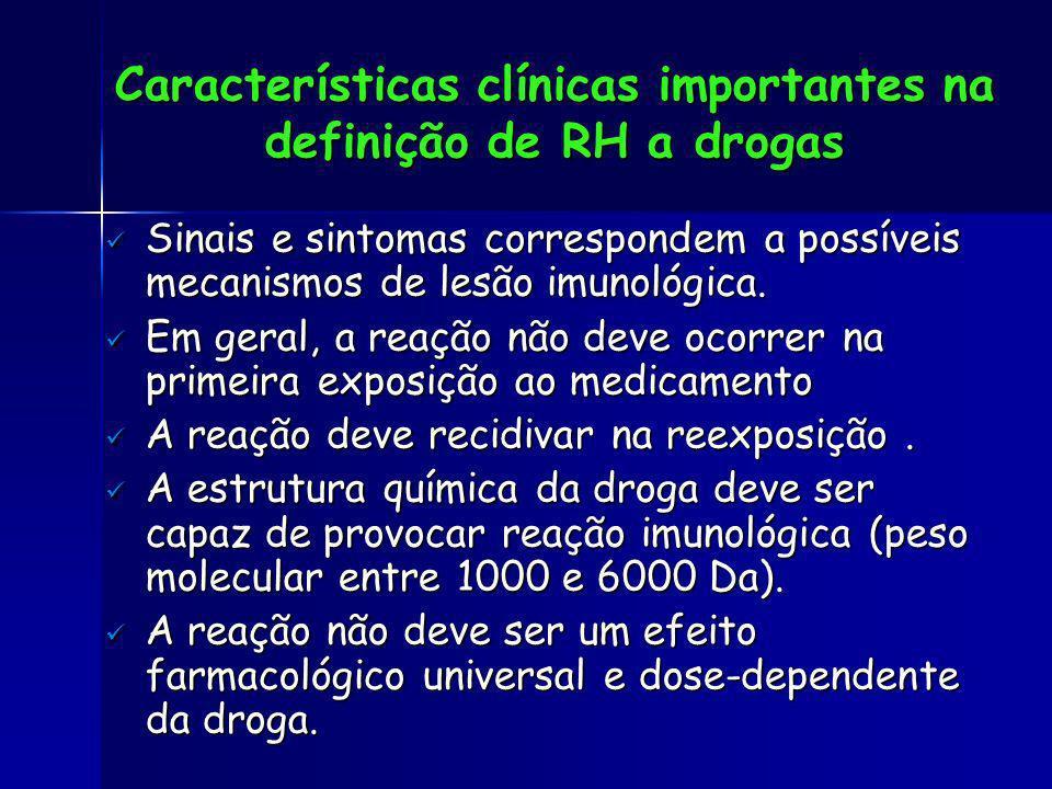 Características clínicas importantes na definição de RH a drogas Sinais e sintomas correspondem a possíveis mecanismos de lesão imunológica. Sinais e