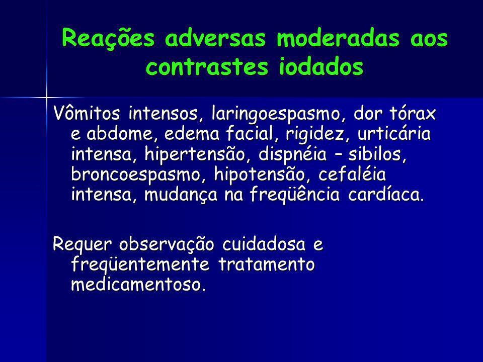 Reações adversas moderadas aos contrastes iodados Vômitos intensos, laringoespasmo, dor tórax e abdome, edema facial, rigidez, urticária intensa, hipe